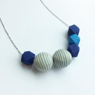 """LaPerle"" between geometric blue and sapphire blue ball Muzhu roads sub original handmade jewelry necklace necklace rhodium plated copper chain Ball Royal Blue geometric Necklace Handmade stripes Free Shipping"