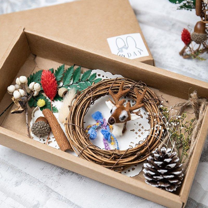 聖誕DIY材料包 編織自己的麋鹿藤圈花環 松果聖誕禮物
