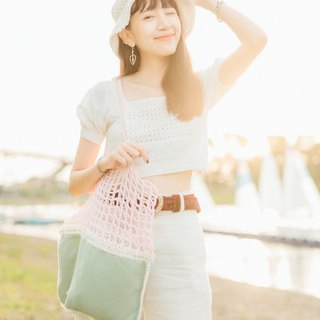 Soft cute Pink-Green Crochet bag