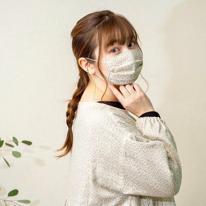 和柄 點點 米色 手工立體口罩 可洗滌 日本製純棉二重紗布 成人