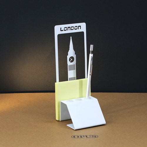 [] OPUS Dong Qi metalworking London Big Ben - notes Pen Holder (white) / Continental Iron Architecture Pen penholder / sticky memo paper business card storage / office stores necessary study / Father's Day gift PE-bi16 (W)