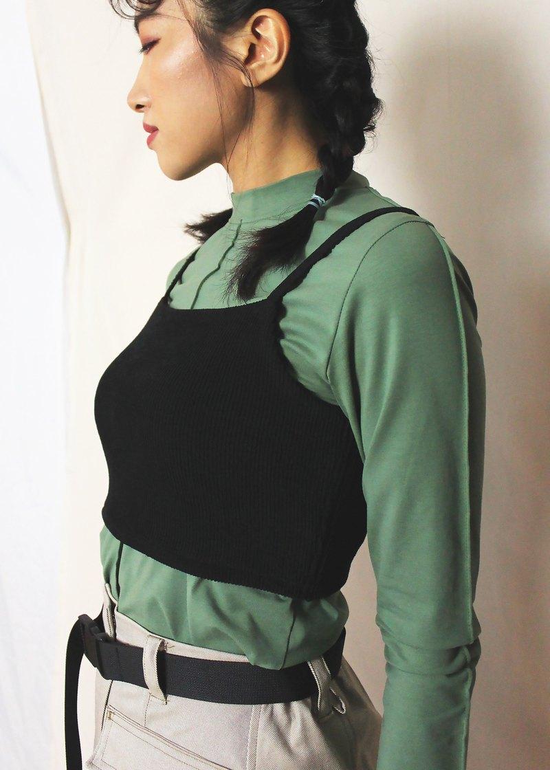 細肩帶羅紋針織上衣 - 黑色