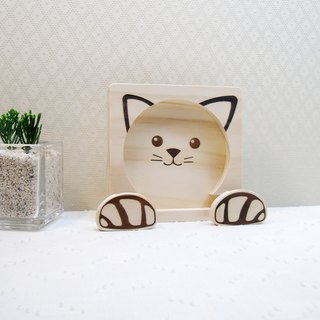 喵 cute cat mobile phone holder coaster cat claws coil clip photo clip customized name free