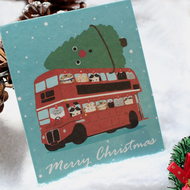 Christmas british bus cat postcard cat postcard christmas
