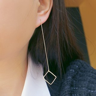 K gold square temperament earrings