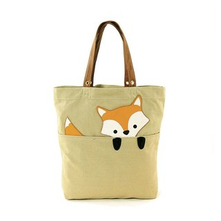 Sleepyville Critters - Peeking Baby Fox Canvas Tote Bag