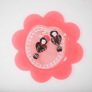 Modern girl striped love earrings ear clips