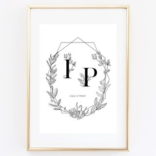 Floral letter . Customizable painting poster