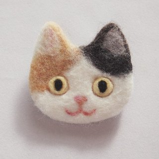 cat face felt brooch -calico-