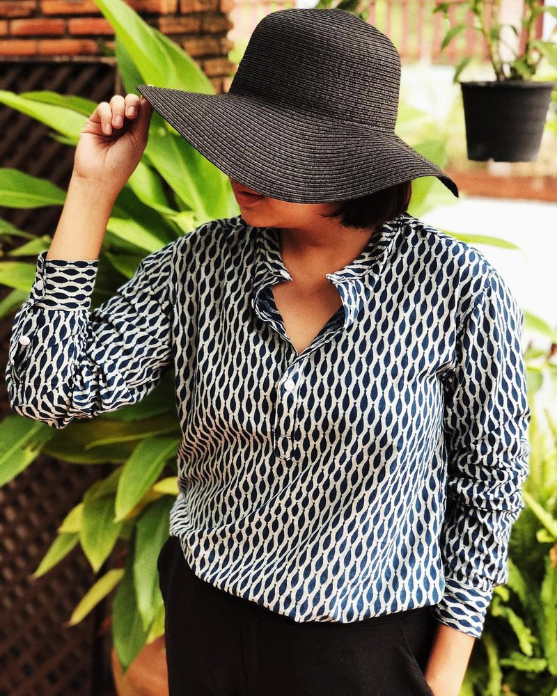 Long Sleeve Shirt (Indian Hand Block Printed Fabric)