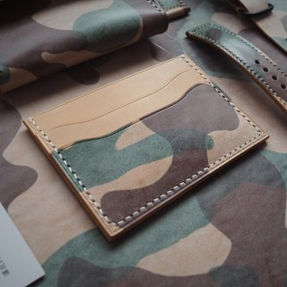 Minimalist card leisure card credit card package Italy wipe wax yellow brown camouflage cowhide handmade leather design