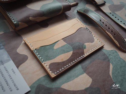 Handmade Leather Minimalist Clips Easy Card Credit Card Purse Door Card Card Holder Italian Rub Wax Camouflage Color Leather