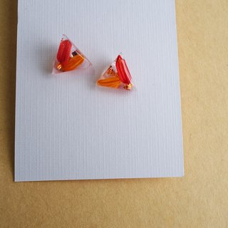 """Harvest"" resin earrings, rice, imitation gold foil, red, beaming, steel needle, silicone ear clip"