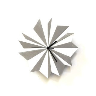 Origami Silver - unique wooden wall clock with glistening paint