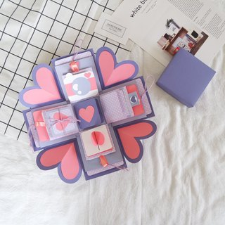 Gift Box Cards - Afternoon Pink Violet x Deluxe Organ Version - Handmade Cards / Valentine Card / Explosion Card / Explosion Box