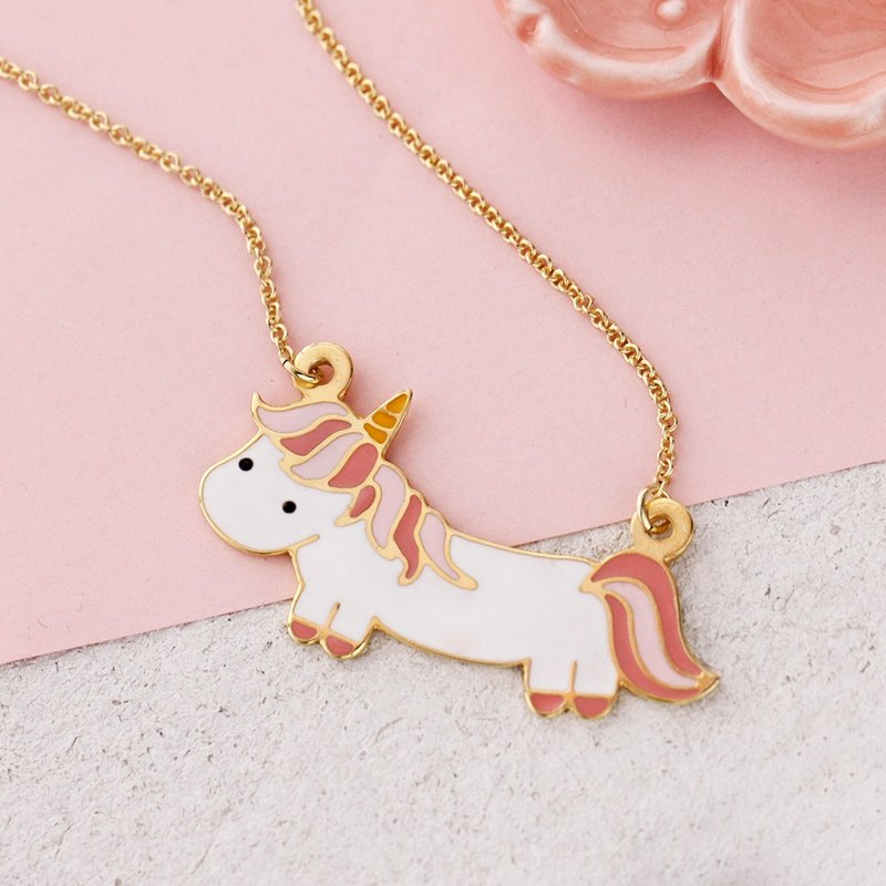 Unicorn Necklace in Brass with 24k Yellow gold plating