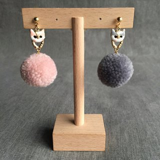 Christmas gift ﹣super cute cat pink gray fur ball earrings