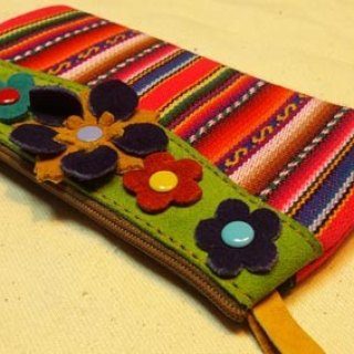 Colorful flowers textured leather glove bag +