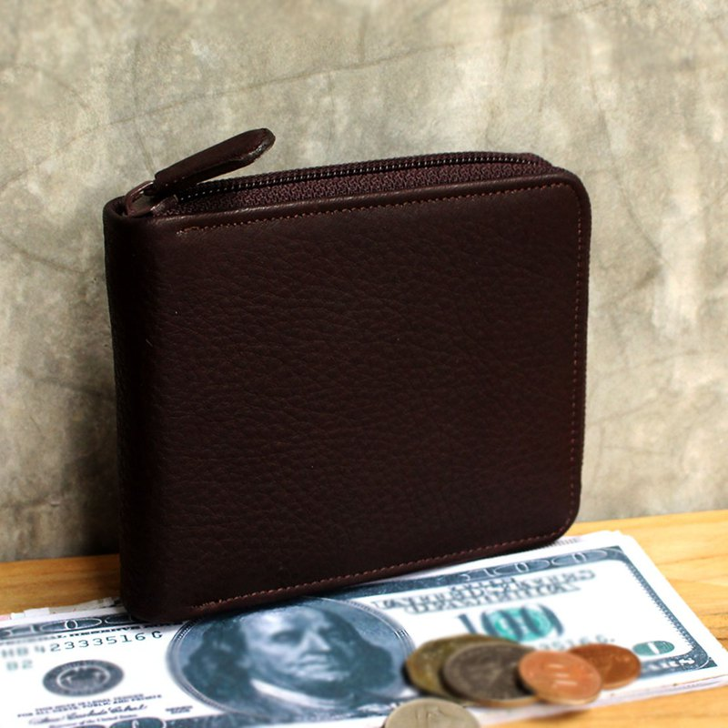 Leather Wallet - Zip Around S - Dark Brown (Genuine Cow Leather) / Small Wallet