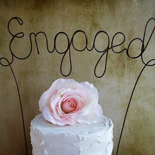 ENGAGED Cake Topper Banner - Custom Engagement Party Cake Topper, Rustic Wedding Cake Decoration, Shabby Chic Wedding, Garden Party