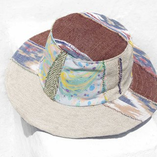 Moroccan wind stitching hand-woven cotton hat woven hat fisherman hat visor straw hat - watercolor forest system