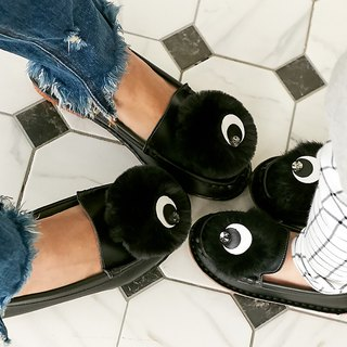 Parent-child shoes, eyeballs, doll shoes, loafers - fashion black