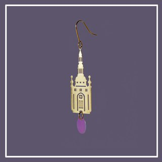 N IS FOR NEVERLAND  18k gold gilded metal castle earring