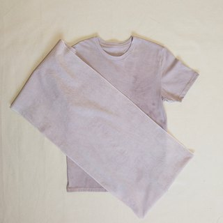 PURPLE MUD COLOR TEE, TENUGUI SET - Mudding dyed muddy organic cotton