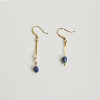 Quiet natural stone brass earrings
