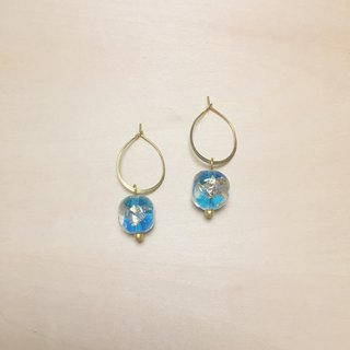 Vintage Sky Blue Round Side Square Gold Silver Foil Glass Earrings