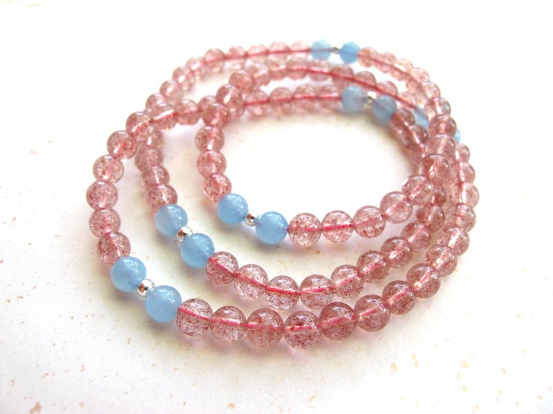 【Micro 醺】 Strawberry crystal x Aquamarine x 925 Silver - Three rings bracelet / Necklace - Handmade natural stone series
