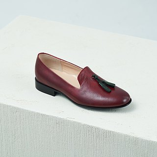 H THREE Fringe Loafers / Maroon / Flat / Loafer