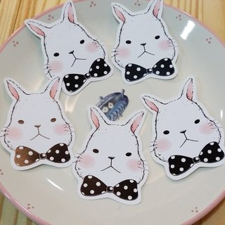 Waterproof super sticky sticker / hair Peng Peng white rabbit - cute black bow shape (5 in)