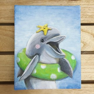 "Love handles small frame of the original painting ""dolphin brother"" of 