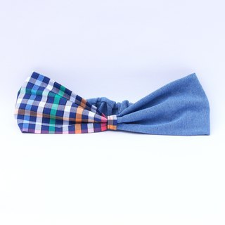 【The MAMA's Closet】Denim with Checked Headband (Rainbow)