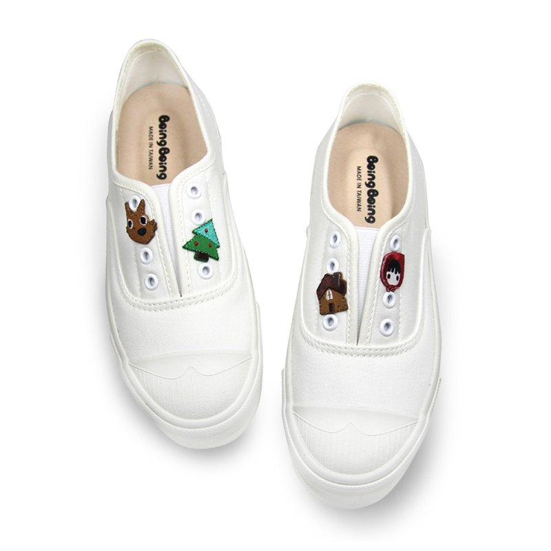 Parent-child embroidered chapter penguin shoes Little Red Riding Hood and Big Wolf - White (Adult) Pre-order