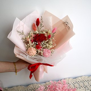 Thanksgiving Praise - Undiscovered Carnation Red Pink Hand Holding Dry Bouquet Mother's Day