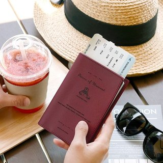 Iconic-Flight Diary Passport Cover - Wine Red, ICO86840