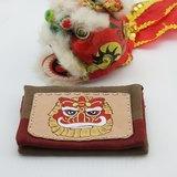 多層皮革酒袋布零錢包 ☆ Q版吉祥獅(紅)