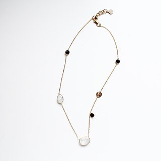 【JUNE 6-birthstone- Moonstone】design necklace Silver with 22K Gold plated (adjustable)