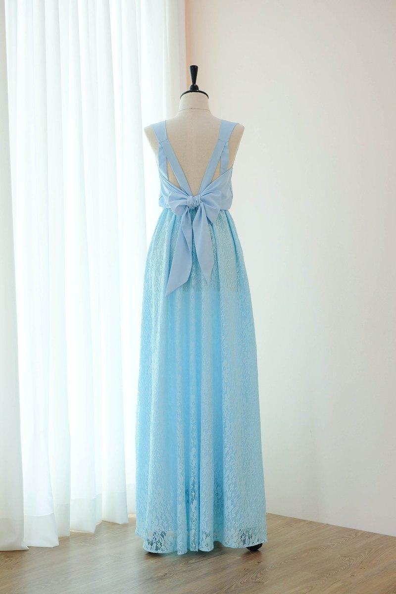淡藍色連衣裙蕾絲連衣裙伴娘舞會雞尾酒會婚紗禮服