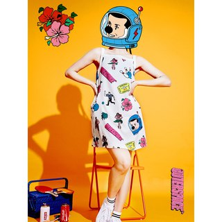 OUTER SPACE Clown Goes To Vacation Dress (Summer White)