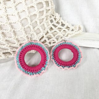 Pink-Blue crochet earring