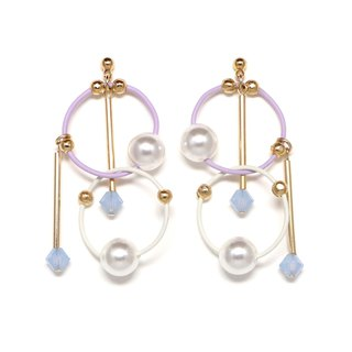 cosmos-purple: white beads earrings · earrings