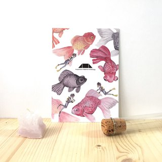 Auspicious Pattern Goldfish Illustration Postcard - Jin Yu Man Tang / Yue Ran Paper Series