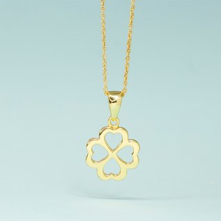 Four Leaf Heart 925 Necklace in 14k gold plating