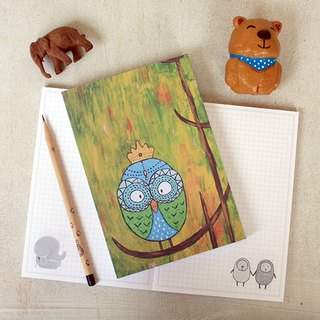 Naked mounted box notebook | owl fantasy forest