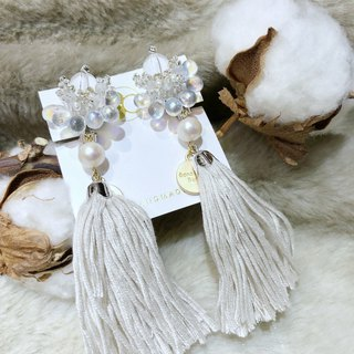 White Christmas blessing Japanese beads freshwater bead clip earrings tassels models