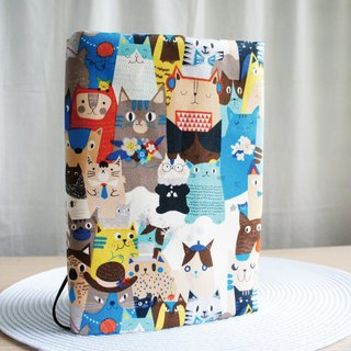 Lovely [Japanese cloth] hot silver double-sided cloth book clothing [cat group photos] book cover 25 open 15X21cm