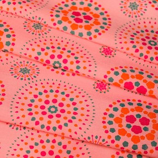 Printed Fabric / Firework / Pink Peach, Orange, Green